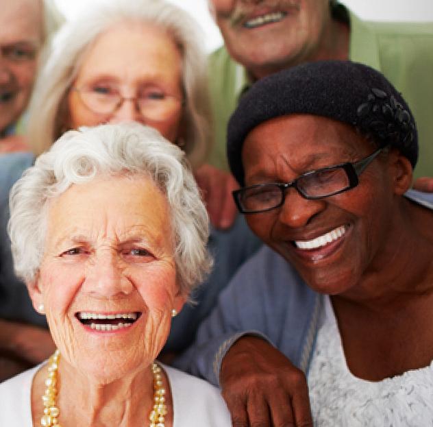 seniors smiling each other