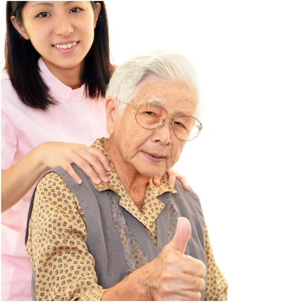 Caregiver woman and senior
